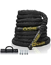 POWERGUIDANCE Battle Rope - 38mm/50mm Width Poly Dacron 9m/12m/15m Length Exercise Undulation Ropes - GYM Muscle Toning Metabolic Workout Fitness Exercise - Battle Rope Anchor Included