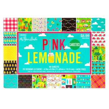 Pink Lemonade Cardstock Scrapbook Paper Pad, 4.5 x 6 Butterflies, Camping, Ladybugs ()
