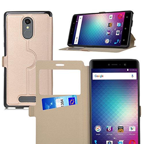 BLU VIVO 5R case,KuGi BLU VIVO 5R case Ultra-Thin SCW Style PU Cover + TPU Back Stand Case for BLU VIVO 5R Smartphone(Gold)