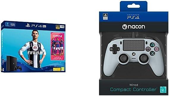 PS4 Pro 1TB + FIFA 19+Nacon - Mando compacto PS4, color gris ...