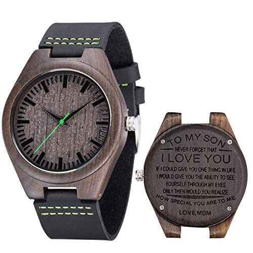Engraved Watch for Men,Best Father s Day Husband Son Gift,Natural Custom Personalized Leather Strap Black Sandalwood Wood Groomsmen Watches