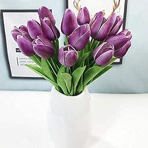 Artificial Flowers 30Pcs/Lot Pu Mini Tulip Flower Real Touch Wedding Flower Artificial Flower Silk Flower Home Decoration Hotel Party,Bule,30Pcs 5