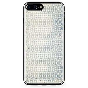 iPhone 7 Plus Transparent Edge Phone Case Blue Pattern Phone Case Flakes iPhone 7 Plus Cover with Transparent Frame