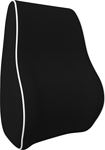 bonmedico Orthopedic Lumbar Support Pillow, Back Cushion with Memory Foam, Back Pillow for Back Support and Back Pain Relief, Ergonomic Lumbar Pillow for Car Seat, Home, Office-Chair, Black, Standard