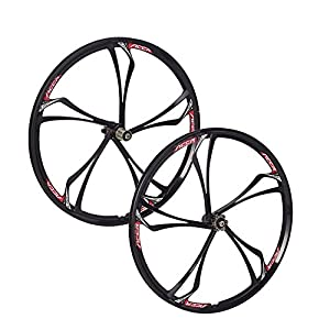 "26"" MTB Bike 5 Spoke Mag Magnesium Wheels Set Rim Wheelset 6/7/8/9/10 Gears"
