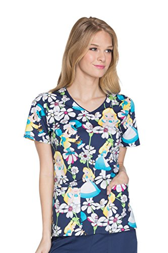 - Cherokee Tooniforms Women's V-Neck Alice In Wonderland Print Scrub Top Large Print