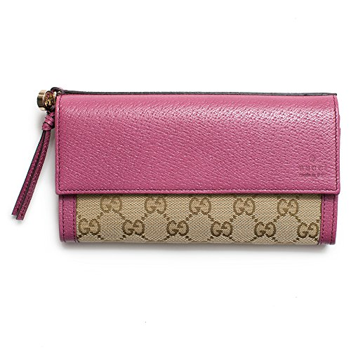Gucci Peony Pink and Beige GG Classic Bree Flap Wallet Women's New
