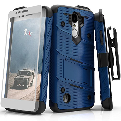 ZIZO Bolt Series LG Aristo 2 Case Military Grade Drop Tested with Tempered Glass Screen Protector Holster LG Fortune 2 Blue Black