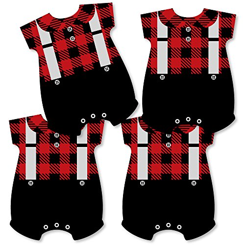 Lumberjack - Baby Bodysuit Channel The Flannel Decorations - DIY Buffalo Plaid Baby Shower or 1st Birthday Party Essentials - Set of 20