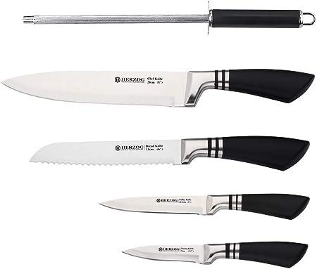 Herzog HR-SND4-BLK - Juego de cuchillos de cocina (5 piezas, acero inoxidable, con mango ergonómico, con estuche de regalo), color negro: Amazon.es: Hogar