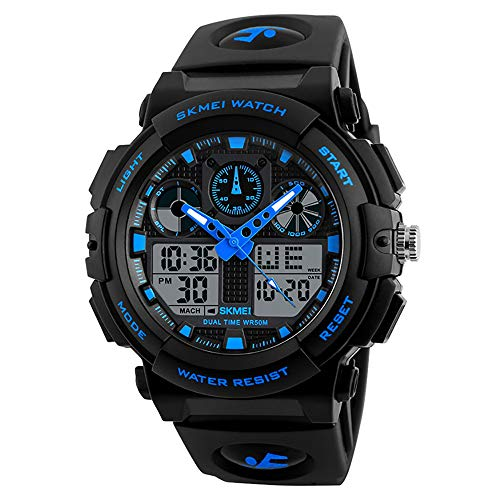 Mens Sports Watches Military Analog Digital Watch Waterproof Dual Display Electronic Quartz Movement Large Wrist for Men