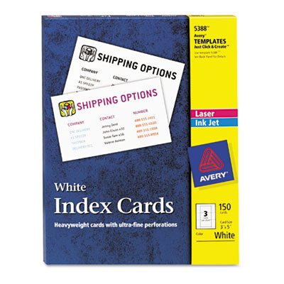 (Avery® - Laser/Inkjet Unruled Index Cards, 3 x 5, White, 150/Box - Sold As 1 Box - Heavyweight card stock feeds easily from paper)