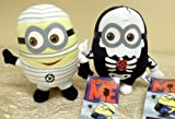 "Hard to Find Adorable Despicable Me Halloween Scary Plush Set Featuring 6"" Despicable Me Skeleton Minion Doll and 6"" Despicable Me Mummy Minion Doll"