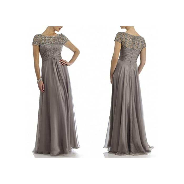 531214c1726f07 ... Women's Dresses/Newdeve Chiffon Mother Of The Bride Dresses Long Pleated  With Rhinestones Short Sleeve. ; 