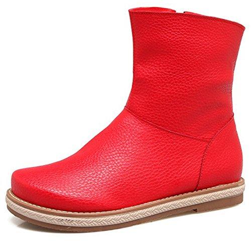 Boots Women's Comfy Red Toe Zipper Mofri Side Flats Rounded Platform Short zadxawqS