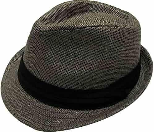 f5a448e1df930 Hemantal Men Women Classic Lightweight Straw Fedora Hat w Band - Assorted  Colors