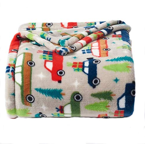 The Big One Oversized Plush Throw - Super Soft Microplush Blanket (Holiday Trucks)