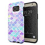 Glitbit Compatible with Samsung Galaxy S7 Edge Case Mermaid Scales Pattern Mythical Princess Queen Holographic Iridescent Aesthetic Shockproof Dual Layer Hard Shell + Silicone Protective Cover