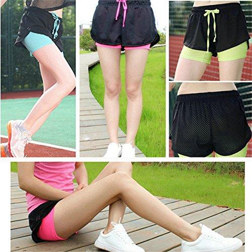 Pantaloncini Traspiranti L'Esecuzione Ladia Sportivo In Yoga Estivi ECYC Donna Abbigliamento Atletico Da Di Mesh Da Nero A02 Da Pantaloncini BxnqzR
