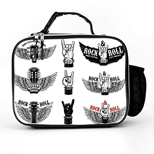 Fest Box Music - Atunme Removable Shoulder Reusable Set Of Vintage Rock Music Fest Emblems Hand With Lunch Bag, Tote Outdoor Travel Picnic Carry Case Lunchbox With Zipper For Womens Mens Boys Girls