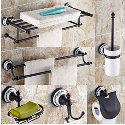 Gowe Oil Rubbed Bronze 6PCs Bathroom Accessories Bath Shelf Storage Holder Wall Mount by Gowe