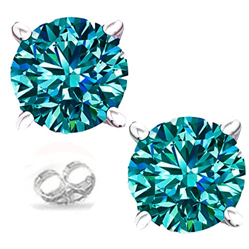 RINGJEWEL Silver Plated Round Real Moissanite Stud Earrings (1.85 Ct,Blue Green Color,VVS1 Clarity) - Vvs1 Clarity