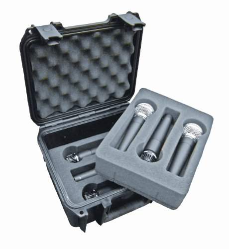 SKB 3I-0907-MC6 Injection-Molded Waterproof Case for Six Microphones - Black (Injection Molded Case)