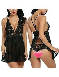 Avidlove Women Sexy Open Back Lingerie Mesh Chemise V-neck Lace Babydoll
