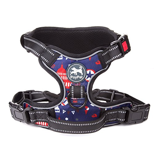 No Pull Dog Harness, Printed Pattern Pet Harness, Reflective Vest Harness with 2 Leash attachments and Easy Control Handle for Small Medium Large Dogs (Blue,XL) - Quick Control Harness