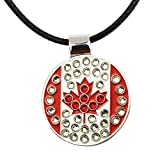 PINMEI Canada Flag Crystal Golf Ball Marker with Strong Magnetic Cotton Paraffined Rope Necklace