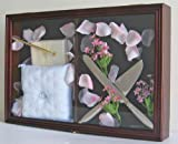 Wedding Ceremony Accessories / Baby Shower Keepsake Shadow Box Display Case, Mahogany Finish