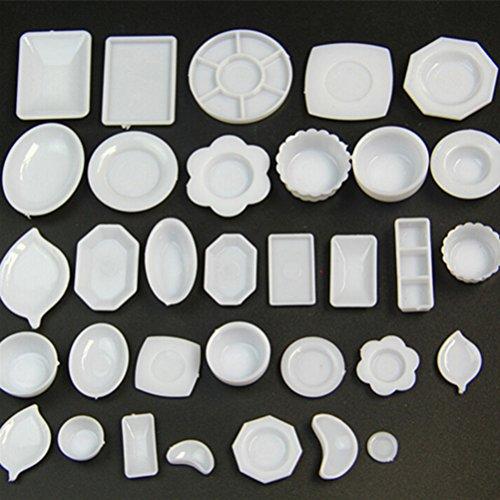 Dengguoli 33 Pcs Dollhouse Miniature Tableware Plastic Plate Dishes Kitchen Set for Mini (Plastic Dollhouses)