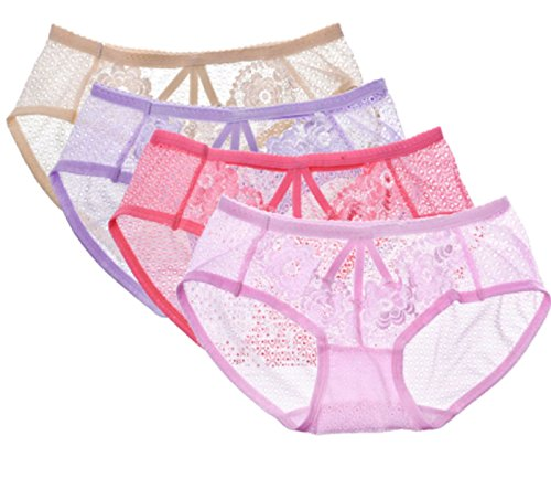 6 Pc Sexy Cop Costumes (Hot 4 Pcs Sexy Women's Panties Seamless Cotton Hollow Lace Transparent Underwear (Freesize, 4 Color))