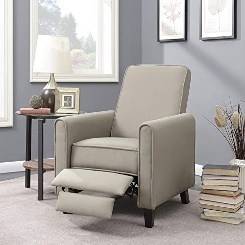 Belleze Modern Recliner Club Chair Accent Living Room Linen w/Footrest, Taupe ()