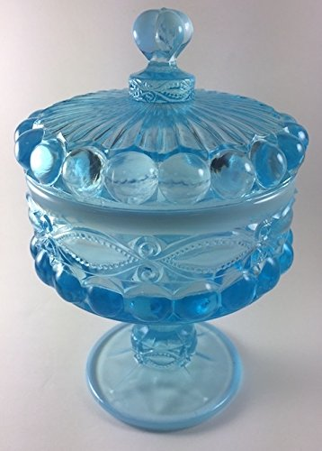Covered Compote - Eyewinker - Mosser Glass USA (Large, Blue Opalescent)