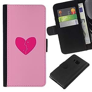 JackGot ( Love Pink Broken Heart ) HTC One M7 la tarjeta de Crédito Slots PU Funda de cuero Monedero caso cubierta de piel