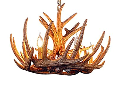 Rustic White Tail 9 Antler Cascade Chandelier