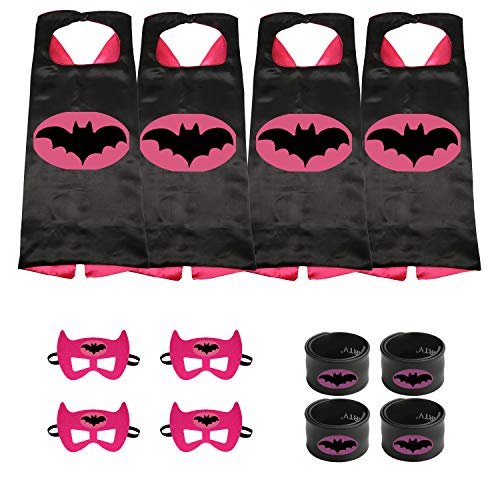 Munfa Superheros Cape and Mask Costumes 4 Set Includes Bonus Matching Wristbands for Kids (Multicolored) (Multicolored) (Girl, Batgirl) -