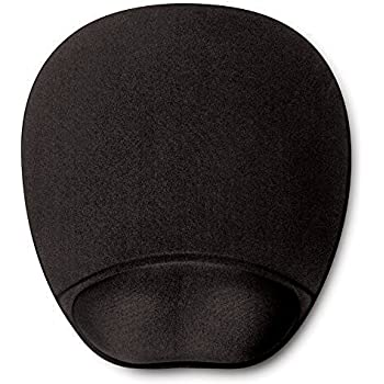 HandStands Memory Foam Mouse Pad Mat with Wrist Rest, Black