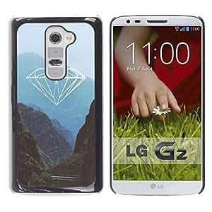 YOYOYO Smartphone Protección Defender Duro Negro Funda Imagen Diseño Carcasa Tapa Case Skin Cover Para LG G2 D800 D802 D802TA D803 VS980 LS980 - naturaleza diamante montañas azules verdes