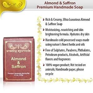 Amazing Ayurveda Premium Handmade Bathing Bar, Almond and Saffron, 4.4 Ounce