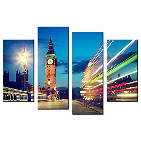 CHARM HOME Wall Decor Canvas Art Pictures Print With London Big Ben Clock Tower Lights Building Home Dceoration Art Custom Print - Rectangle Picture Frame Charms
