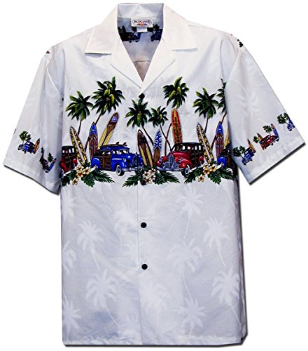 Pacific Legend Mens Old Time Woodie Surfboard Hawaiian Shirt White -