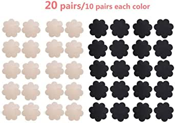 20 Pairs Womens Pasties Nipple Cover Satin Breast Petal Disposable Flower Shape
