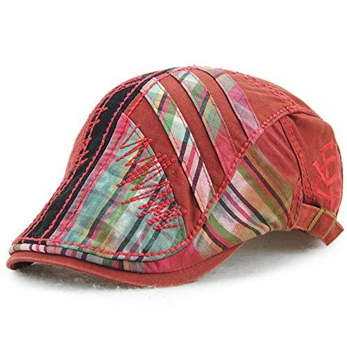 Spring Cotton Beret Pattern Hats Man Beret Cotton European Peaked Cap Split Joint Suture Lattice Forward ()