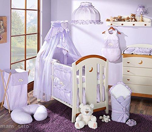 Juego de cama para bebé, 14 artículos, saco para dormir, nido de ángel, protector de cuna, 60 x 120 cm, color morado: Amazon.es: Bebé