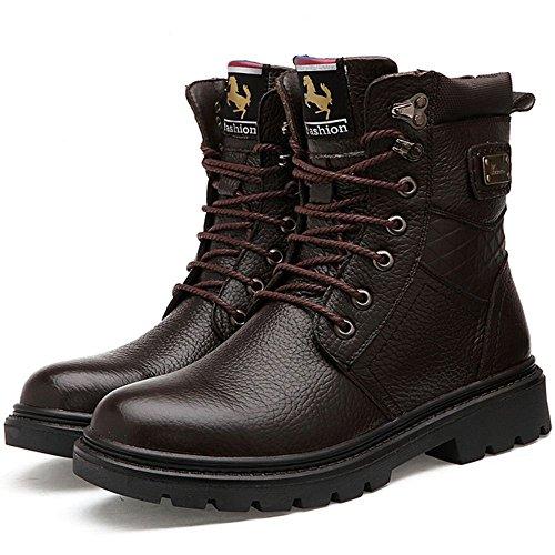Taoffen Mens Warm Warm Boots Boots In Pelle Chukka Marrone