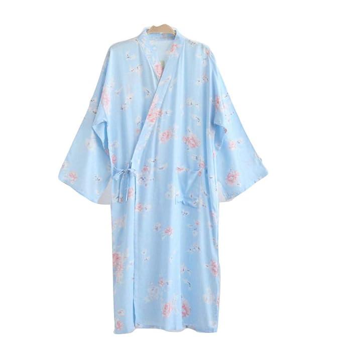 YTFOPLK Flor Fresca De Verano Rayon Kimono Batas Mujer Vestido De Hogar Batas De Baño Japonesas Yukata Rosa Ropa De Dormir Túnica De Dama De Honor, ...