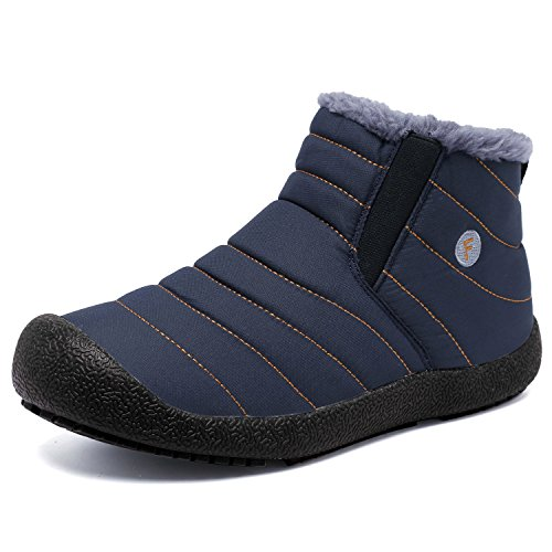 - CIOR Men and Women Snow Boots Fur Lined Winter Outdoor Slip On Shoes Ankle Boots.2H.Blue-47