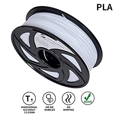 LEE FUNG 1.75mm PLA 3D Printing Filament Dimensional Accuracy +/- 0.05 mm 2.2 LB Spool DIY Material Tools (White)